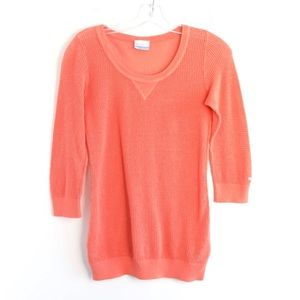 Columbia knit mesh net orange cotton sweater Small